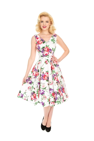 Hearts & Roses 50s White Pink Purple Floral Swing Dress