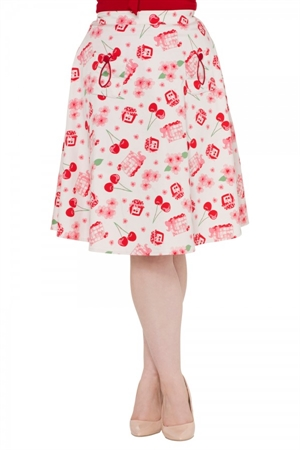 Voodoo Vixen Zena Flared Cherry Skirt