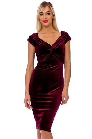 Claret Red Velvet Pencil Dress