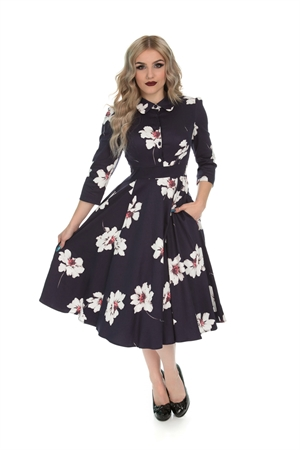 Hearts & Roses 50s Grace Midnight Shirt Swing Dress