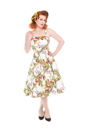Hearts & Roses Bird Floral Swing Dress