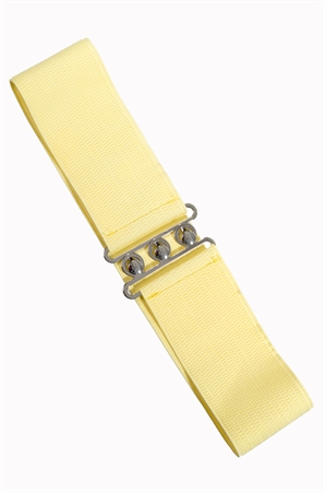 Banned Retro 50s Vintage Stretch Belt in Pale Yellow