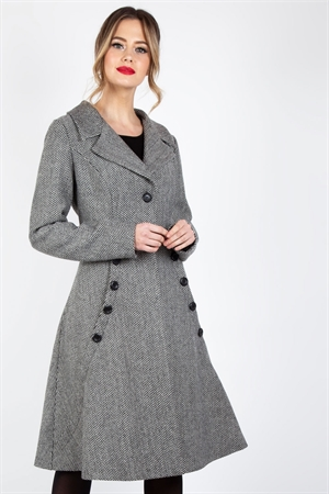Voodoo Vixen Macie Herringbone Coat in Grey