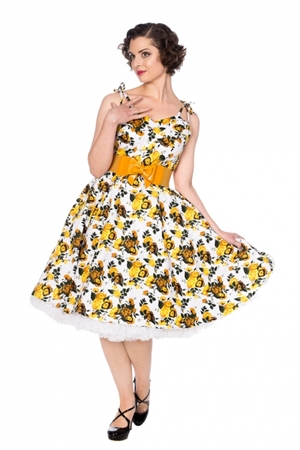BAnned Retro 50's Vintage White Yellow Floral Rockabilly Summer Dress