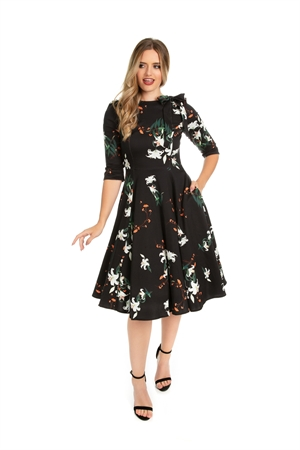 Hearts & Roses Vintage Black White Lilly Retro Floral Swing Dress