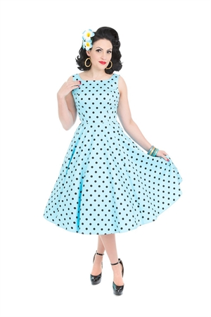 Hearts & Roses Blue Polka Dot Dress
