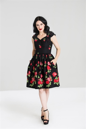 Hell Bunny Black Red Rose Antonia Mid Dress