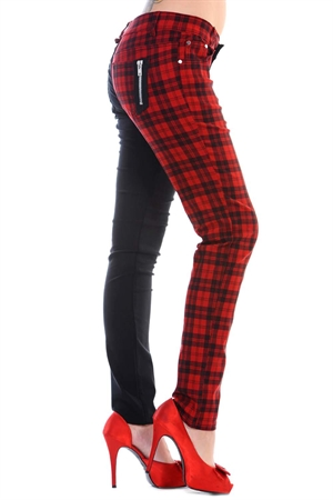 Banned 50s Trouser Half-Black-Red Check Skinny Jeans
