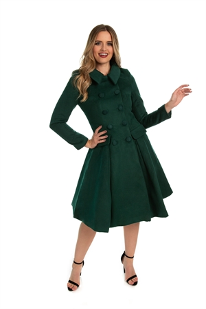 Hearts and Roses Evelyn  Green Swing Coat