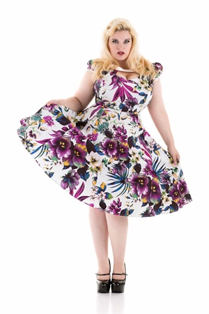Hearts & Roses Purple Floral 1950s Swing  Dress