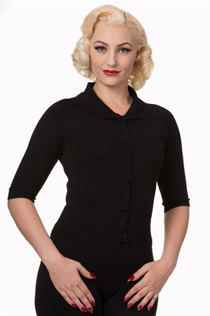 Banned Retro 40's April Bow Rockabilly Plain Peter Pan Collar Vintage Cardigan in Black