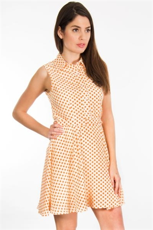 Beige Orange Polka Dot Mini Dress