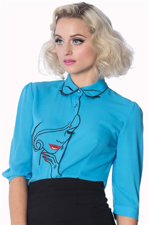 Dancing Days-Banned Model Face Embroidered Blouse in Blue