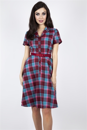 Voodoo Vixen Piper Plaid Belted Flare Dress