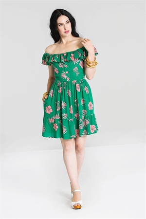 Hell Bunny Green Pineapple Mini Dress