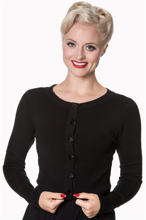 Banned Apparel Retro 50's Dolly Round Neck Rockabilly Pinup Vintage Cardigan in Black
