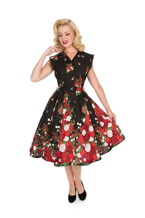 Hearts & Roses 50s Black Red  White Floral Shirt Tea Dress