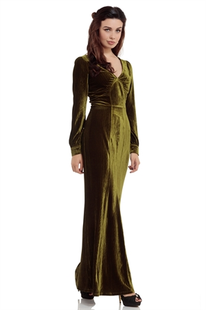 Voodoo Vixen Olive 30s Green Evening Gown