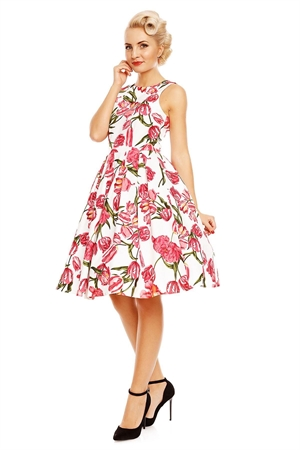 Dolly & Dotty Annie White Pink Tulip Floral 50s Swing Dress