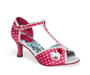 Joe Browns Pink Style Edit White Polka Dot T Bar Peep Toe Heels