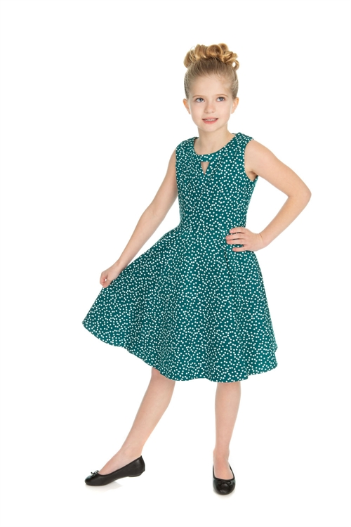 d722ad7d5f Hearts   Roses Girl s Green White Small Polka Dot Dress