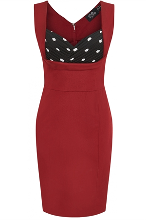 Dolly and Dotty Georgette Burgundy with Black White Polka Dot Wiggle Dress