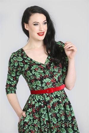 Hell Bunny 50's Black Retro Green Red Holly Berry Festive Party Dress