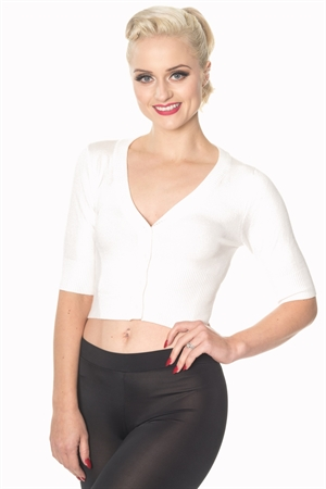 Banned Retro 50's Rockabilly Overload Plain V-Neck Top Pinup Vintage Cardigan in Off White