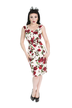 Hearts & Roses 50s Ditsy Rose Summer Wiggle Dress
