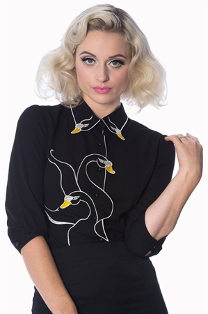 Dancing Days- Banned Black Swan Lake Embroidered Blouse