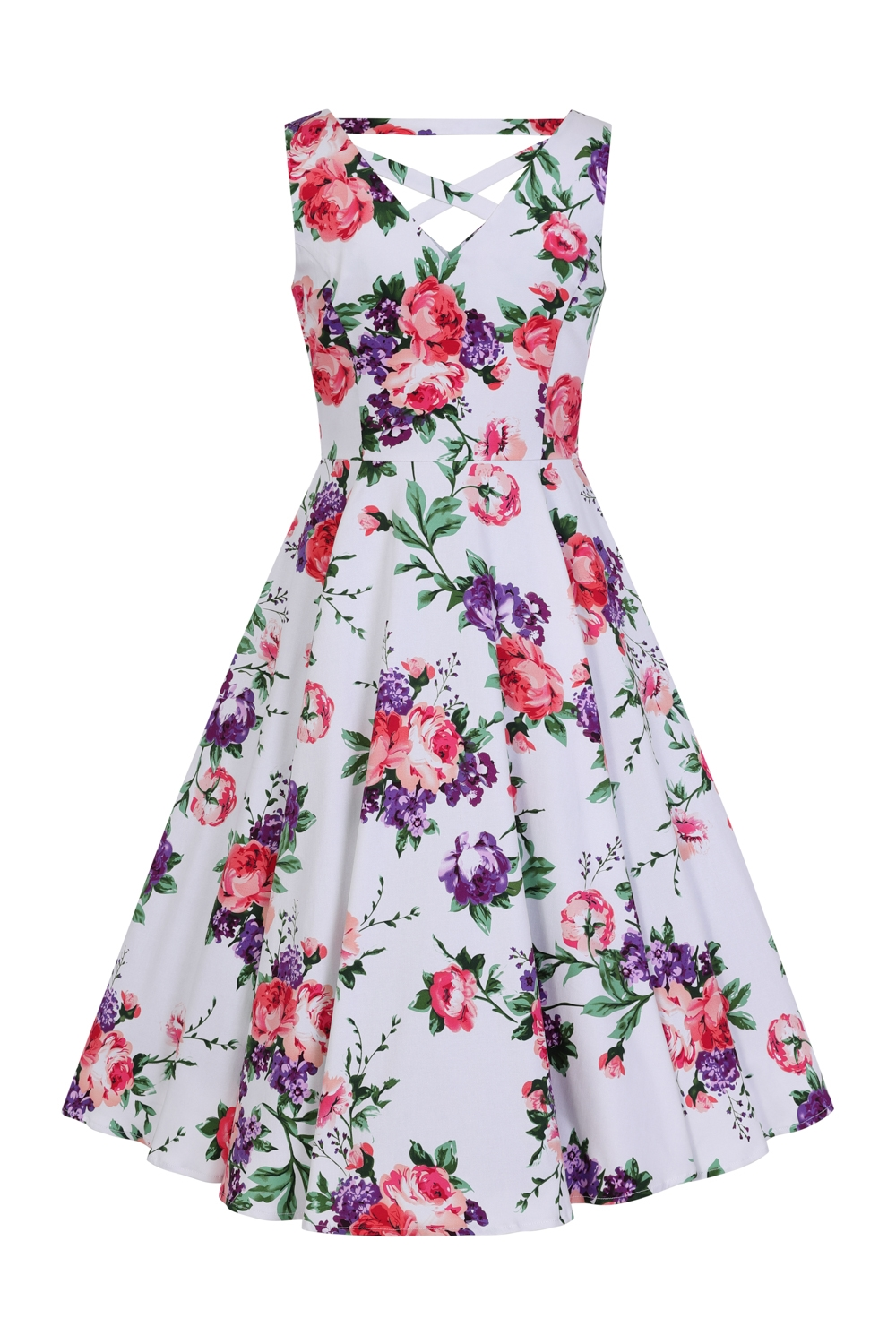 5e98f9cc2096 Hearts   Roses 50s White Pink Purple Floral Swing Dress