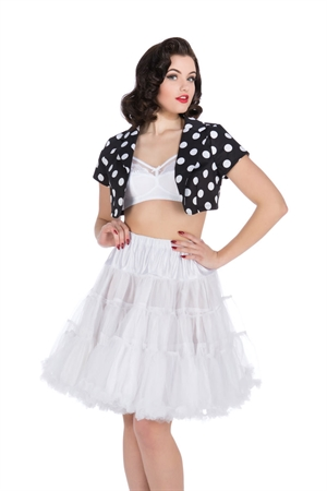 Hearts & Roses Black White Big Dot Short Sleeve Bolero