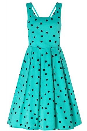 Dolly and Dolly Patricia Vintage Dress Aqua & Black Polka Dot