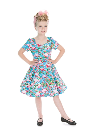 Hearts & Roses Girl's Pretty Flamingo Swing Dress
