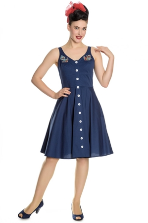 Hell Bunny Sella Swing Nautical Summer Blue Dress