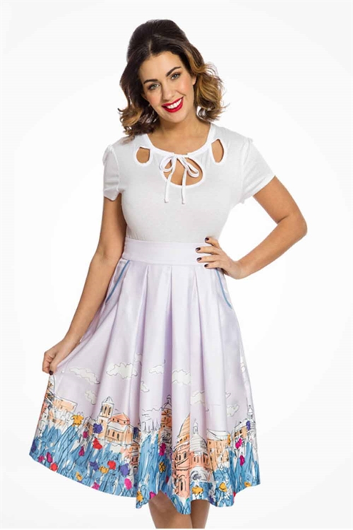 well known on wholesale get cheap Lindy Bop Daniella Lilac Florence Print Swing Skirt