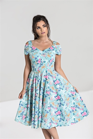 Hell Bunny 50's Pastel Blue Retro Pink & orange Floral Swing Dress