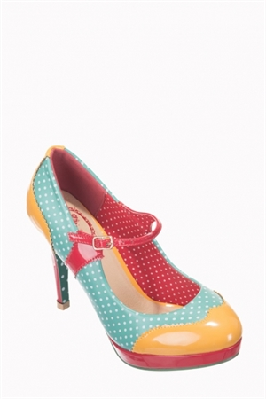 Banned Retro 50's Mary Jane Aqua Amber Polka Dot Pump Shoes