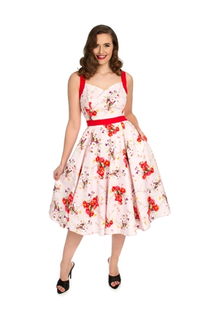Hearts & Roses Pink Red 50's Retro's Floral Swing Dress