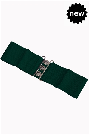 Banned Retro 50s Vintage Stretch Belt in Forest Green