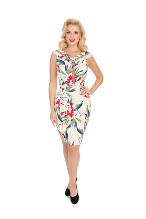 Hearts & Roses 50'S Heaps Of Leaves Sailor Wiggle Dress