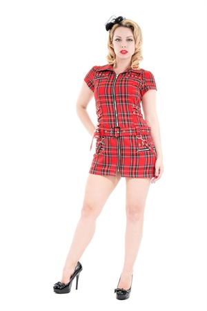 Hearts & Roses Red Tartan Emo Punk Dress
