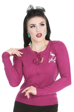 Hearts & Roses 50s Jean Flamingo Knitted Wine Cardigan