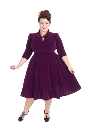 Hearts & Roses 50s Glamorous Purple Velvet Tea Dress