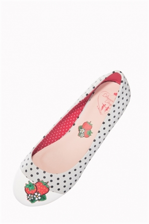 Banned Retro 50's Vintage White Black Polka Dot Strawberry Flats