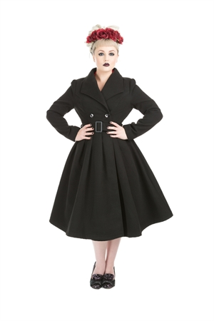 Hearts & Roses Black Vintage Swing Coat