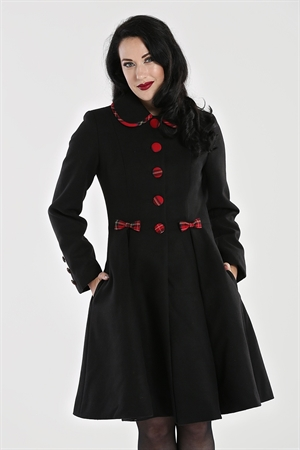 Hell Bunny 50's Vintage Black Red Tartan Trim Tiddlywinks Coat UK