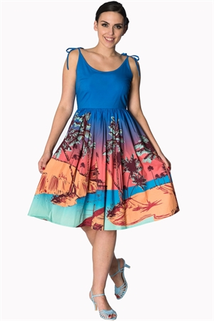 Banned Retro 1950s Tropical Swing Dress In Blue