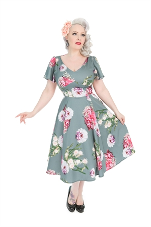 Hearts & Roses 50'S Grey Lamour Pink Floral Swing Dress