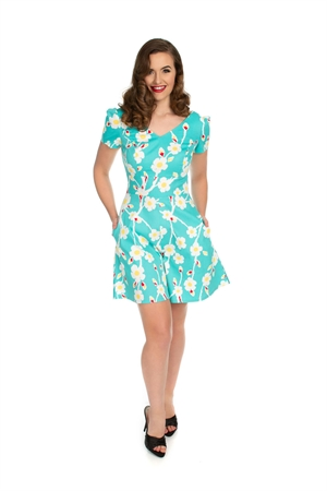 Hearts & Roses Turquoise White Summer Floral Playsuit